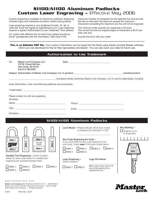Laser Engraving Form - Master Lock Safety