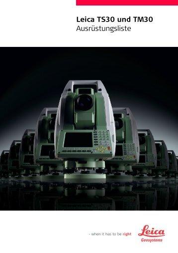 Leica TS30 und TM30 Ausrüstungsliste