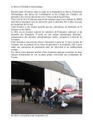 Dans le cadre de la préparation au Brevet d'Initiation Aéronautique ...