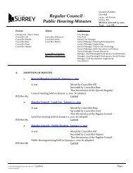Regular Council - Public Hearing Minutes - City of Surrey