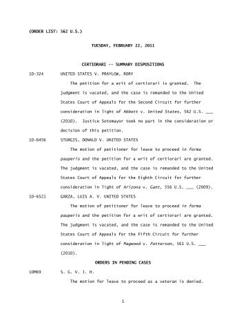 Order List (02/22/11) - Supreme Court of the United States