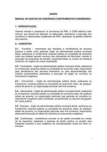 Manual de Gestão de Convênios e Instrumentos Congêneres