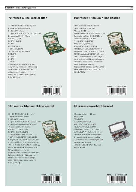 BOSCH Promoline tartozékok 2009-es katalógus