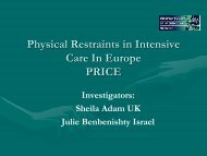 Physical Restraints in Intensive Care In Europe PRICE - European ...