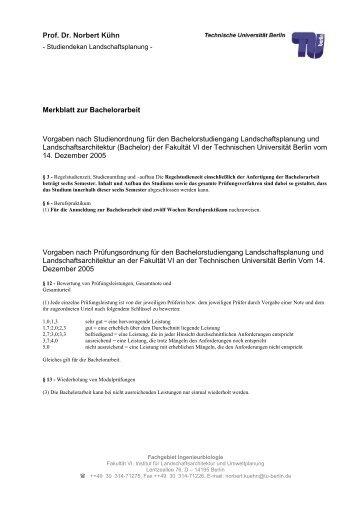 Prof. Dr. Norbert Kühn Merkblatt zur Bachelorarbeit Vorgaben nach ...