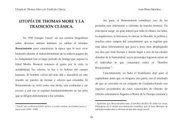 PÉREZ SÁNCHEZ, L. Utopía de Thomas More y la tradición clásica.
