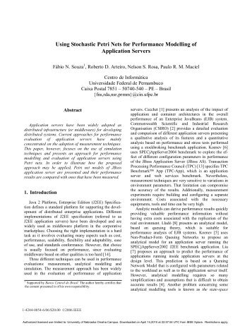 Using Stochastic Petri Nets for Performance Modelling of Application ...