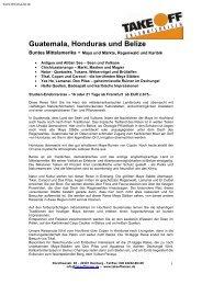 Guatemala, Honduras und Belize - Take Off Erlebnisreisen