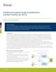 Database Encryption Design Considerations and Best ... - Sybase