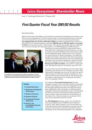 First Quarter Fiscal Year 2001/02 Results Leica Geosystems ...