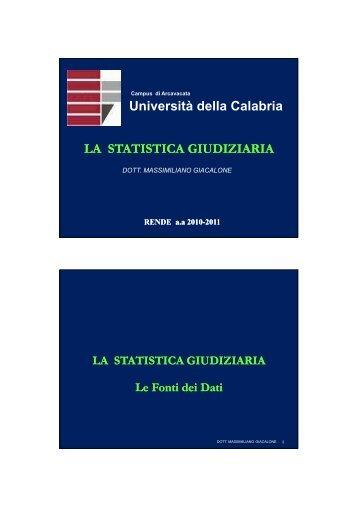 statistica giudiziaria 2 - Facolta' di Scienze Politiche - Università ...