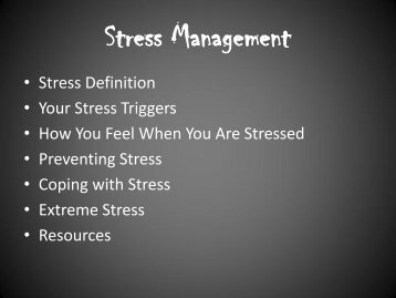 Stress Management - The Arc of Tennessee