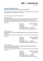 Abstimmungsergebnisse der Ordentlichen Hauptversammlung vom ...