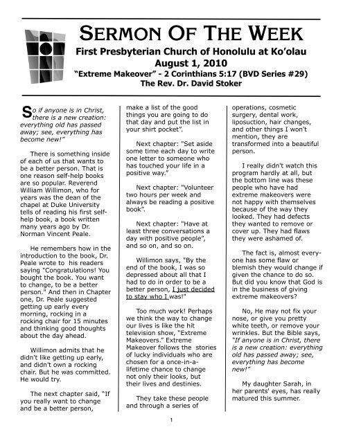 SERMON OF THE WEEK - First Presbyterian Church of Honolulu