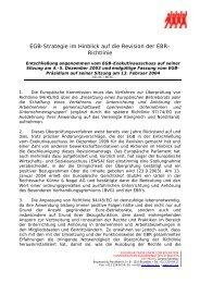 EGB-Strategie im Hinblick auf die Revision der EBR - Mitbestimmung