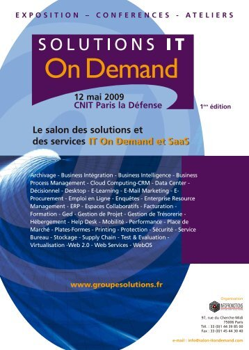 IT On Demand et SaaS Le salon des solutions et ... - Groupe Solutions