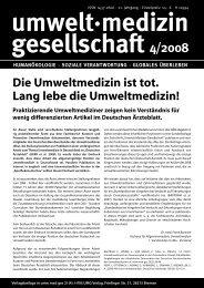 Die Umweltmedizin ist tot. Lang lebe die ... - UMG-Verlag