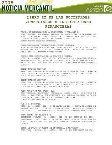 LIBRO IX DE LAS SOCIEDADES COMERCIALES E ...