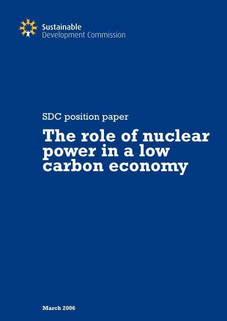 The Role of Nuclear Power in a Low Carbon Economy - Sustainable ...