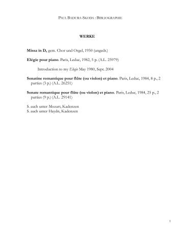 Bibliographie - Badura-Skoda, Paul