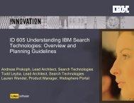 ID 605 Understanding IBM Search Technologies ... - Lotus Sandbox