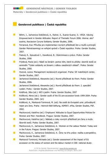 Genderové publikace   Česká republika - Gender Toolbox