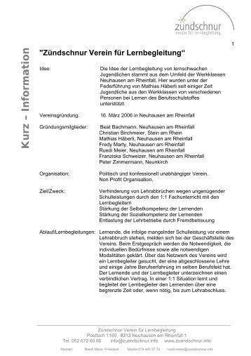 Kurz – Information - Zündschnur