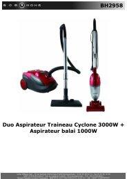 BH2958 Duo Aspirateur Traineau Cyclone 3000W + ... - BOB HOME