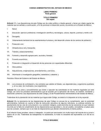 1 CODIGO ADMINISTRATIVO DEL ESTADO DE MEXICO LIBRO ...