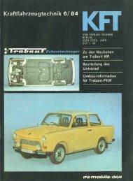 Kraftfahrzeugtechnik 6/84 - Original Trabant