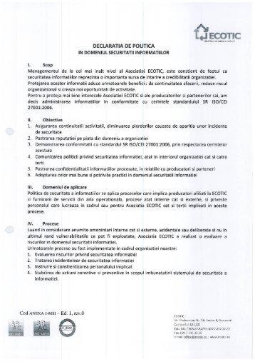politica de securitatea informatiei - Ecotic