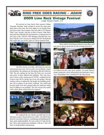 RING FREE GOES RACING – AGAIN 2009 Lime Rock Vintage ...