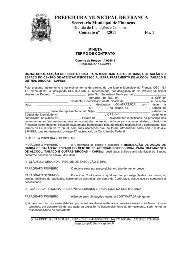 Minuta contrato - Prefeitura de Franca