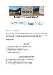 Vereinsnewsletter Juni 2012 - Tennisverein Ankum e.V.