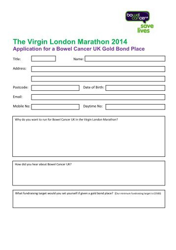 The Virgin London Marathon 2014 - Bowel Cancer UK