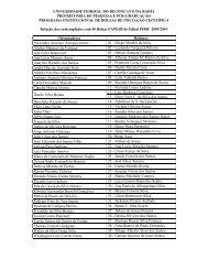 Bolsistas PIBIC 2009-2010 - UFRB