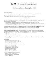 Sophomore Summer Reading List 2010