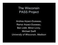 The Wisconsin PASS Project - LANL Institutes