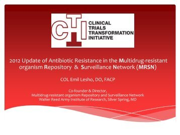 1.3 2012 Update of Antibiotic Resistance in the - Clinical Trials ...