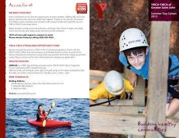Summer Day Camps Guide 2013 - YMCA-YWCA of Saint John, NB