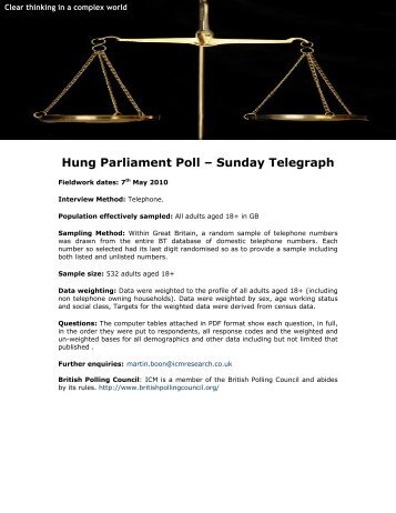 Hung Parliament Poll for Sunday Telegraph - ICM Research