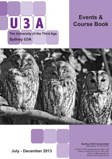 Events & Course Book - Sydney U3A