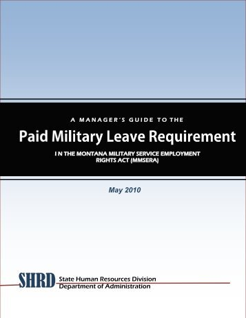 Paid Military Leave Guide - the Montana Department of Transportation