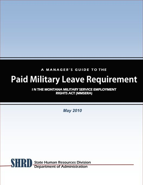 Paid Military Leave Guide - the Montana Department of