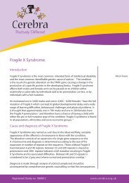 Fragile X Syndrome. - Cerebra