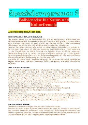 Spezialprogramm 2 2014 - Deutsch- Bolivianische Arbeitsgruppe ...