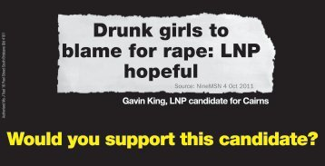 Drunk girls to blame for rape: LNP hopeful - Brisbane Times