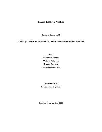Universidad Sergio Arboleda Derecho Comercial II El Principio de ...