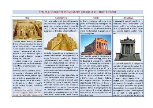 tempi, luoghi e persone sacre presso le culture antiche