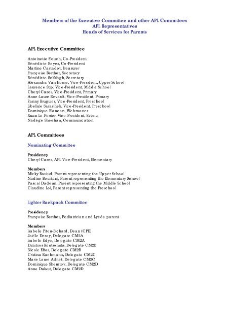 Members of the Executive Committee and other APL Committees